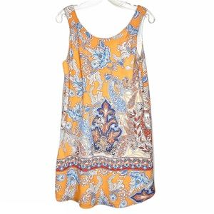 Lila Rose orange paisley shift dress size 4
